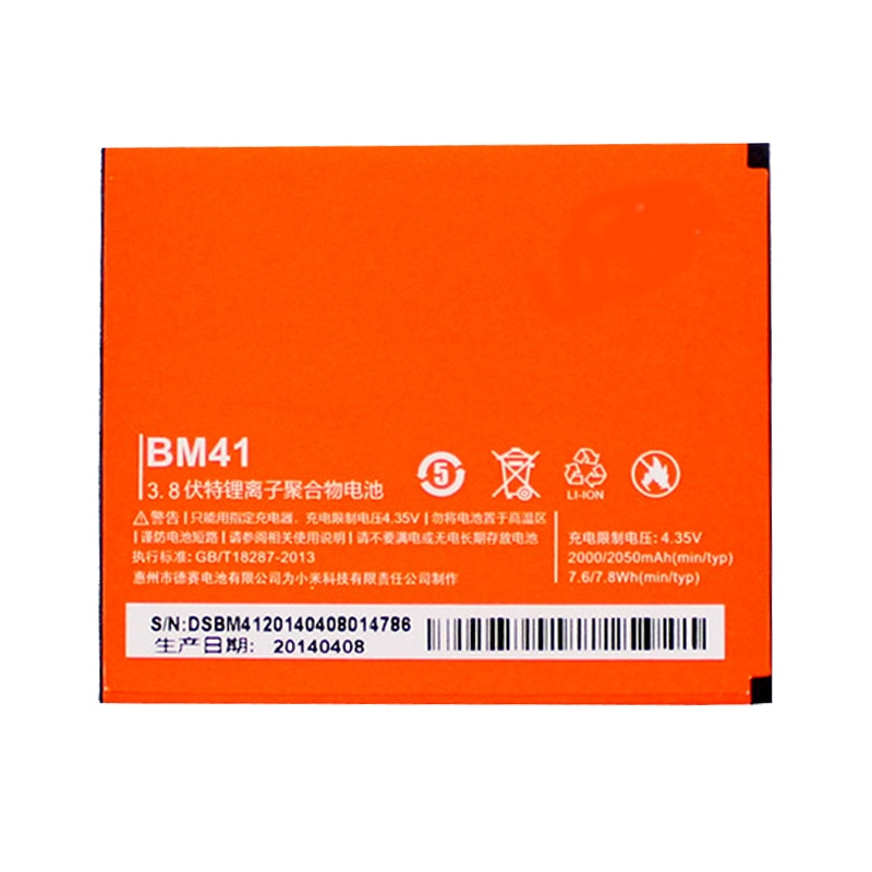 Batería original para teléfono móvil xiaomi hongmi, alta calidad, 2050mAh, BM41