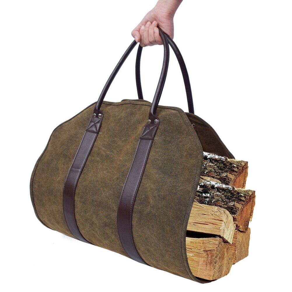 Bolsa de lona resistente al agua para transporte de leña, soporte para troncos de madera, bolsa de mano resistente para leña