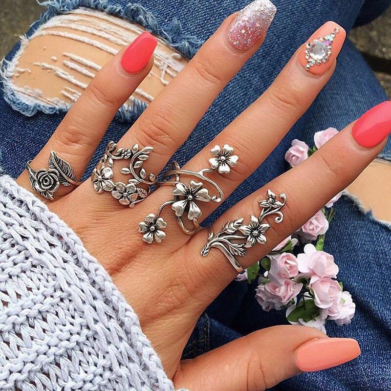 4 unids/set anillo de flores bohemias conjunto de anillo Retro con forma de rosa