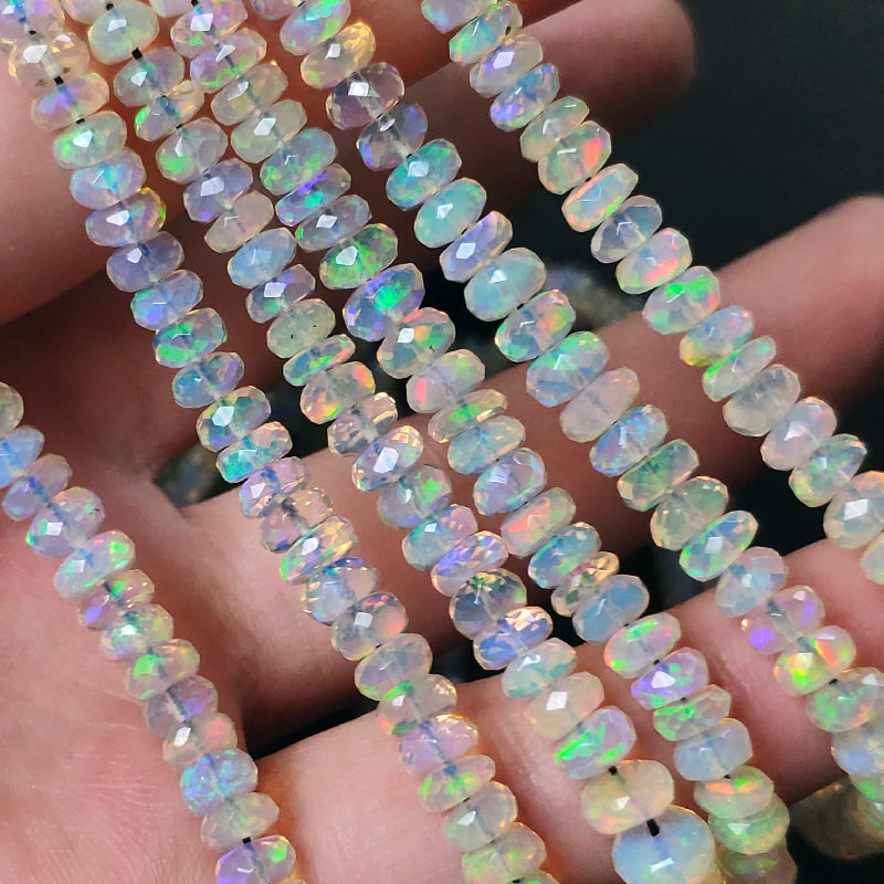 Icnway 38cm Natural Opal Faceted Abacus 3.4-5.5mm Beads Diy Jewelry Accessories Necklace Bracelet Earrings Loose Beads