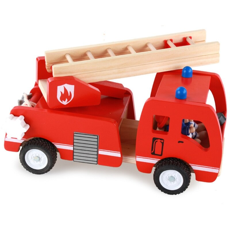 Wooden Fire Truck with Firefighter Play Figure Artificial Aerial Ladder Fire Fighting Truck Model for Kids Children Pretend Play недорого