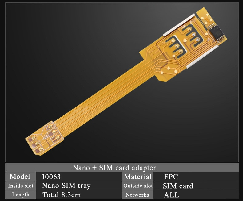 Dual 2 Top Hybrid Double Dual Sim card Adapter Micro SD Sim Extension Adapter for iPhone 5 5s 6 6plu