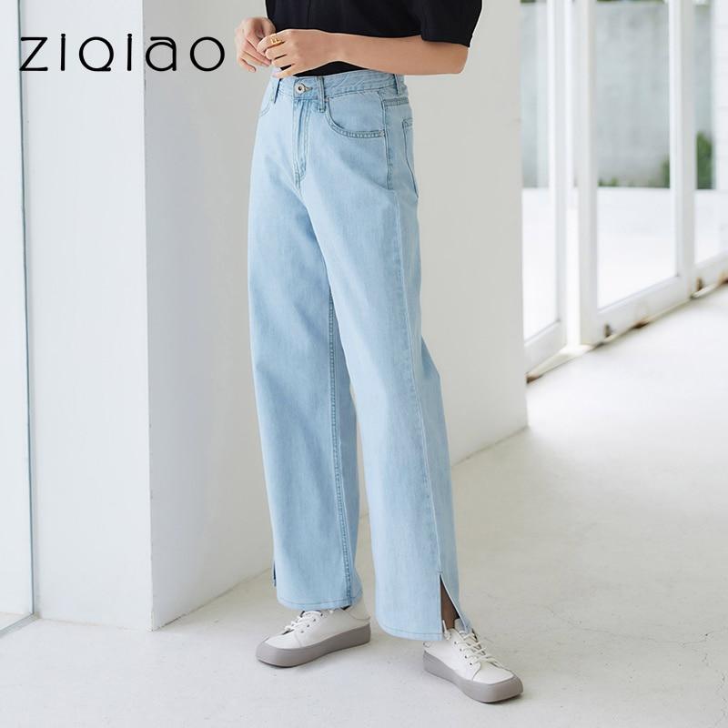 ZIQIAO النساء السراويل الصيف 2021 المرأة الدنيم القطن ضوء الدنيم السراويل الزرقاء مستقيم الساق فضفاضة تناسب الجينز سراويل عالية الارتفاع