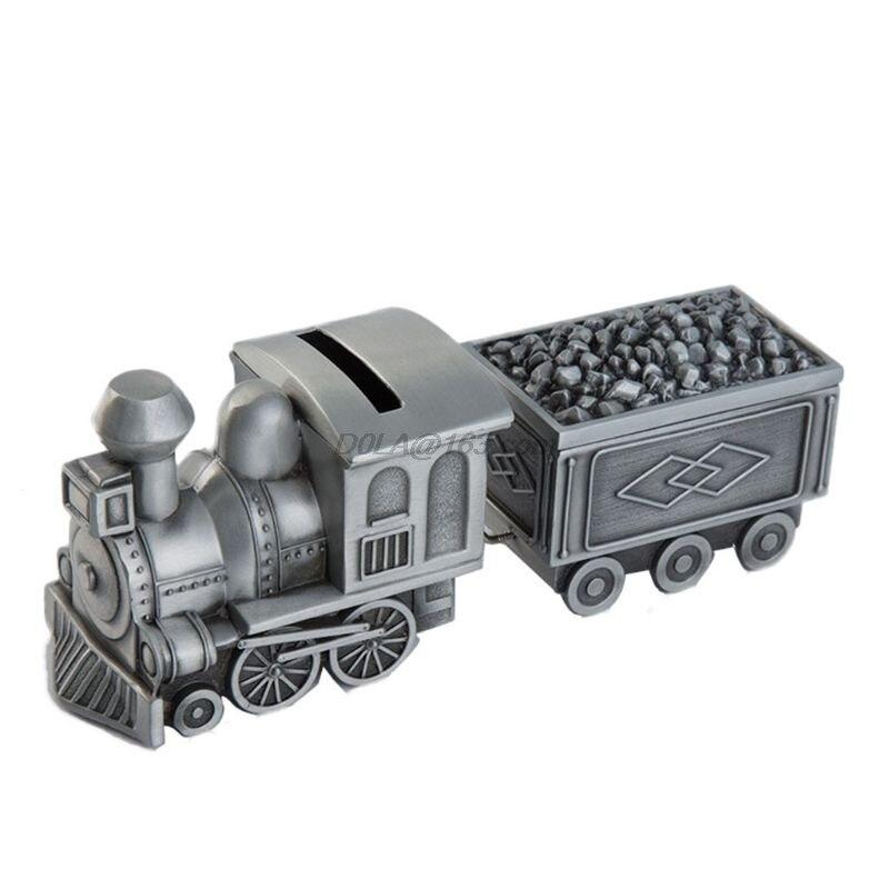 Criativo cofre mealheiro metal trem de carvão caixa de dinheiro manter suas moedas decoração de mesa