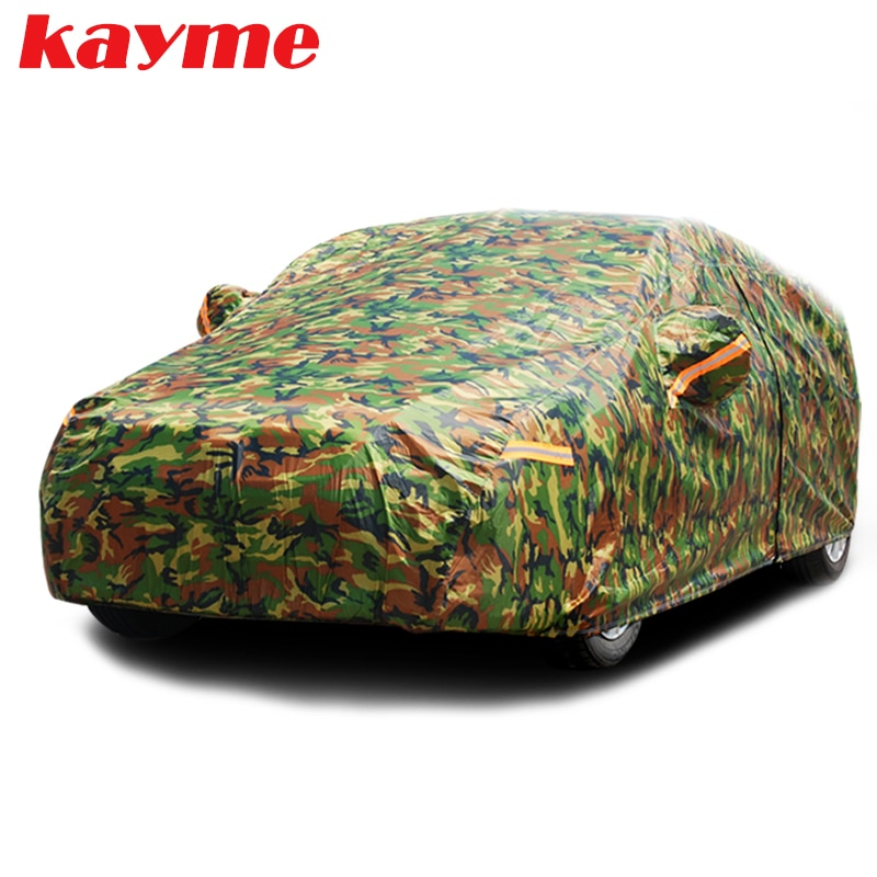 Kayme waterproof camouflage car covers outdoor sun protection cover for car reflector dust rain snow