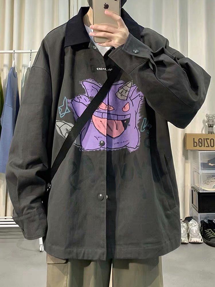 Новая мужская рубашка с длинным рукавом, корейский тренд, клетчатая Повседневная свободная и красивая рубашка в японском гонконгском стиле