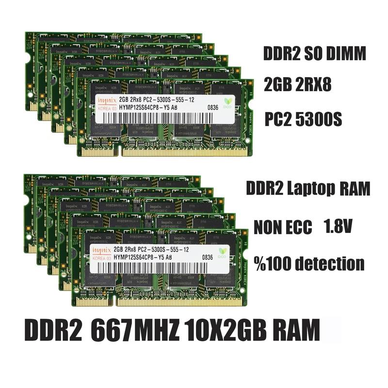 Hynix ddr2 2GB ram sodimm la memoria del ordenador portátil PC2-5300 6400,...