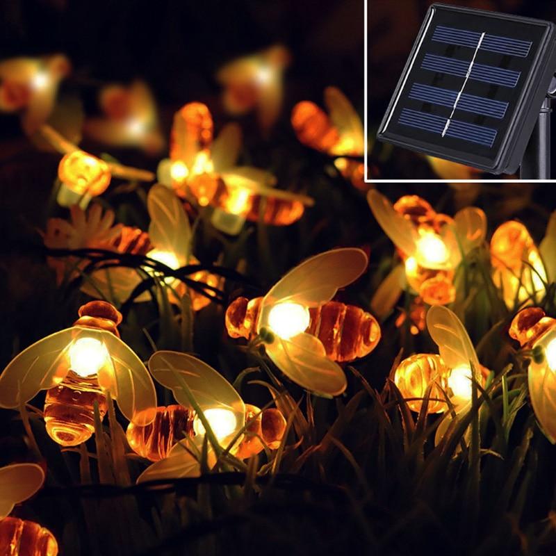 nova energia solar bonito mel abelha led string fada luz 30leds abelha jardim ao
