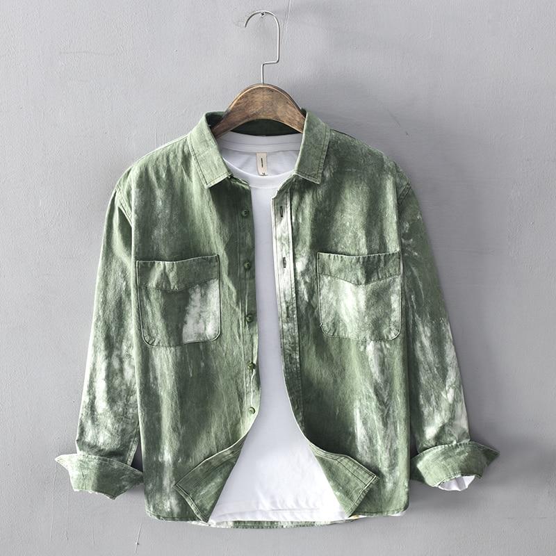 جديد وصول طويلة الأكمام التعادل الصباغة قميص الرجال الخريف الأخضر القمصان للرجال أزياء مريحة قميص الذكور قمم قميص camisa