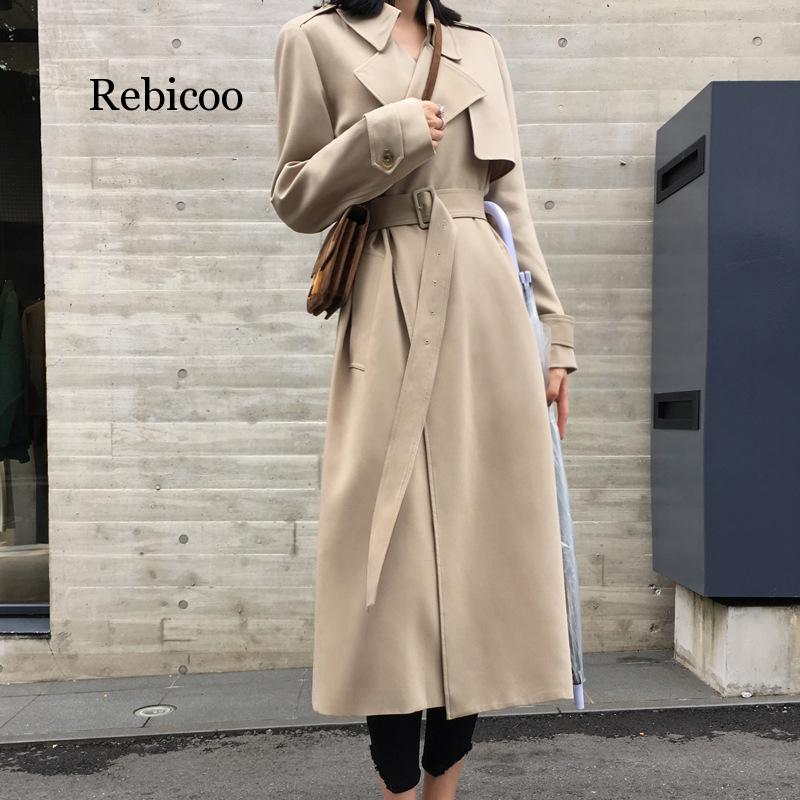 Abrigo largo Harajuku con cuello vuelto para Mujer, gabardina de Mujer, color...