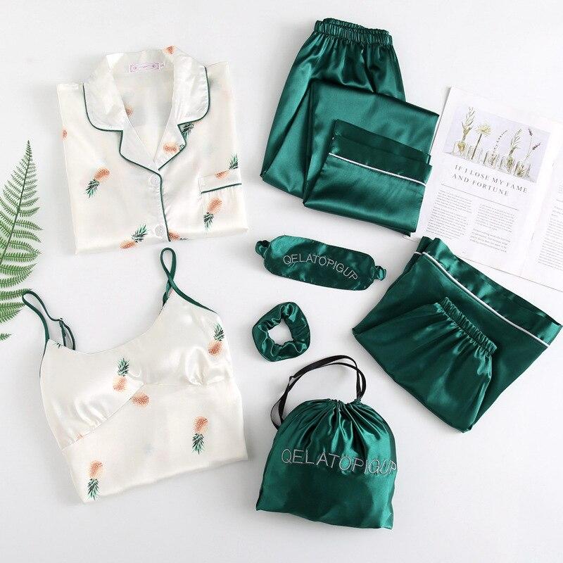 JULY'S أغنية 7 قطعة الحرير النساء منامة مجموعات الصيف الخريف طويلة الأكمام قمصان السراويل Homewear مطبوعة فو الحرير الأناناس ملابس خاصة