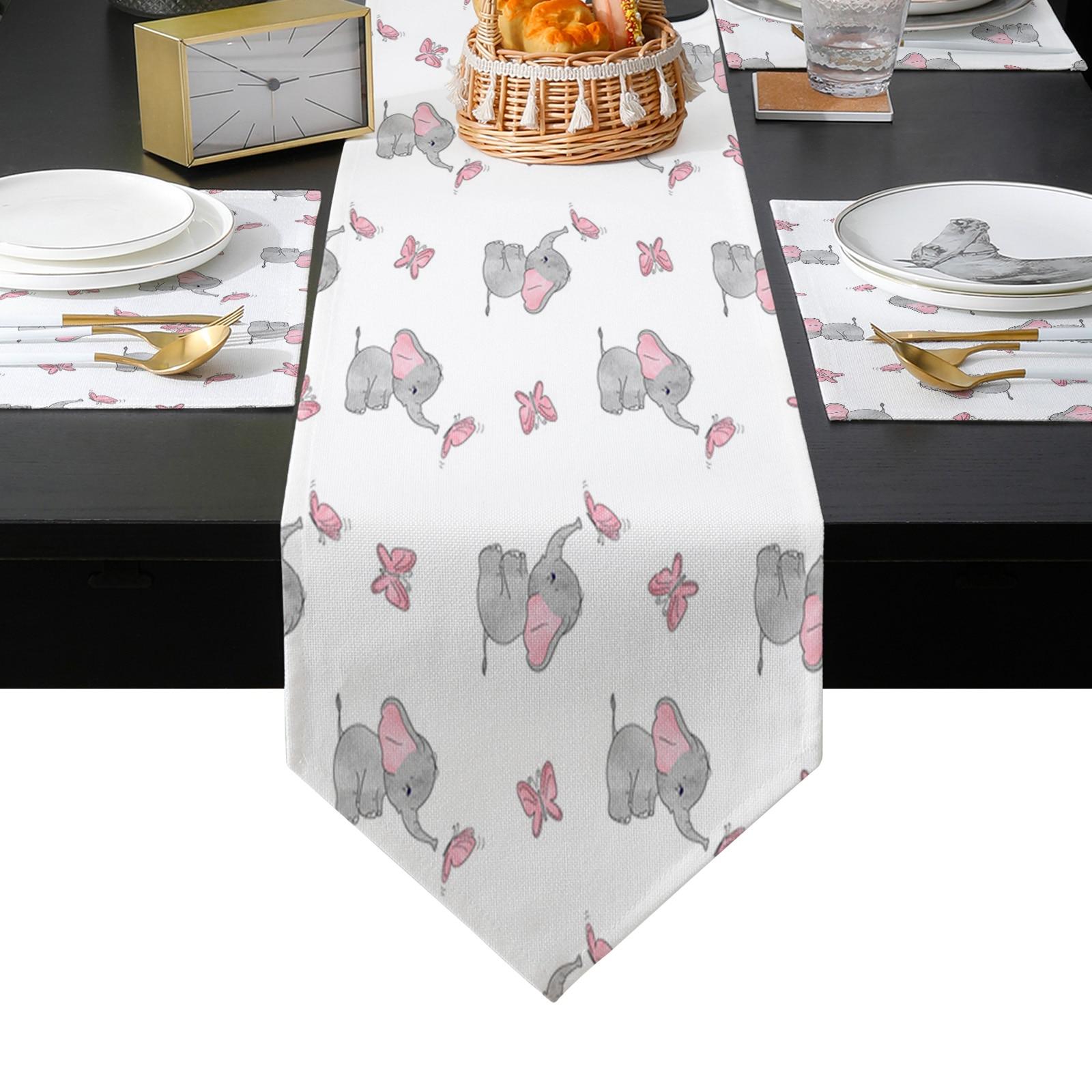فراشة الكرتون أفريقيا الفيل الأبيض الجدول عداء الجدول الحصير غطاء للمنزل الزفاف مأدبة مهرجان حفلة فندق الديكور