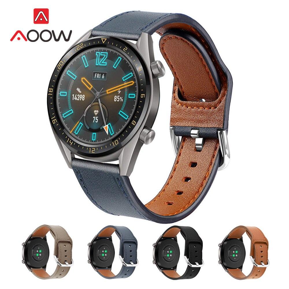 22mm Correa de cuero genuino para Samsung Galaxy 46mm Gear S3 Huawei Watch GT 2 Honor Magic reemplazar Correa
