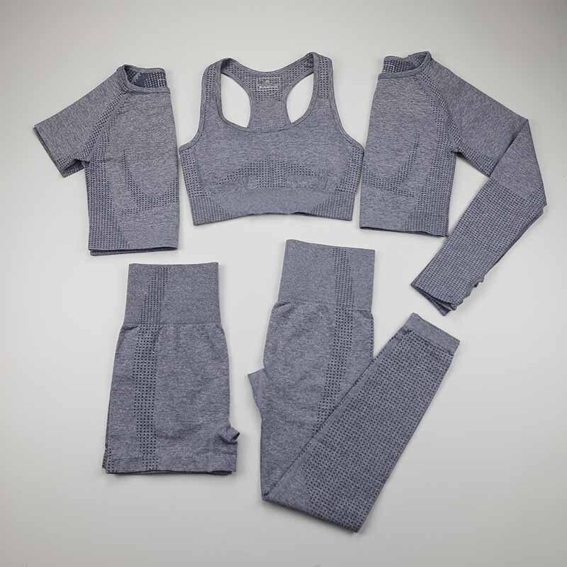 Женский бесшовный Набор для йоги, спортивная одежда для тренировок, спортивная одежда, короткий/длинный рукав, укороченный топ, высокая талия, леггинсы для бега, спортивный комплект