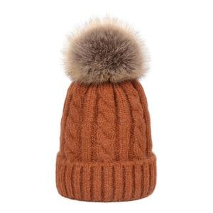 single fur pom pom parent kids cap winter keep warm hat knitting beanies cap soft woolen cap solid colors nice looking hat