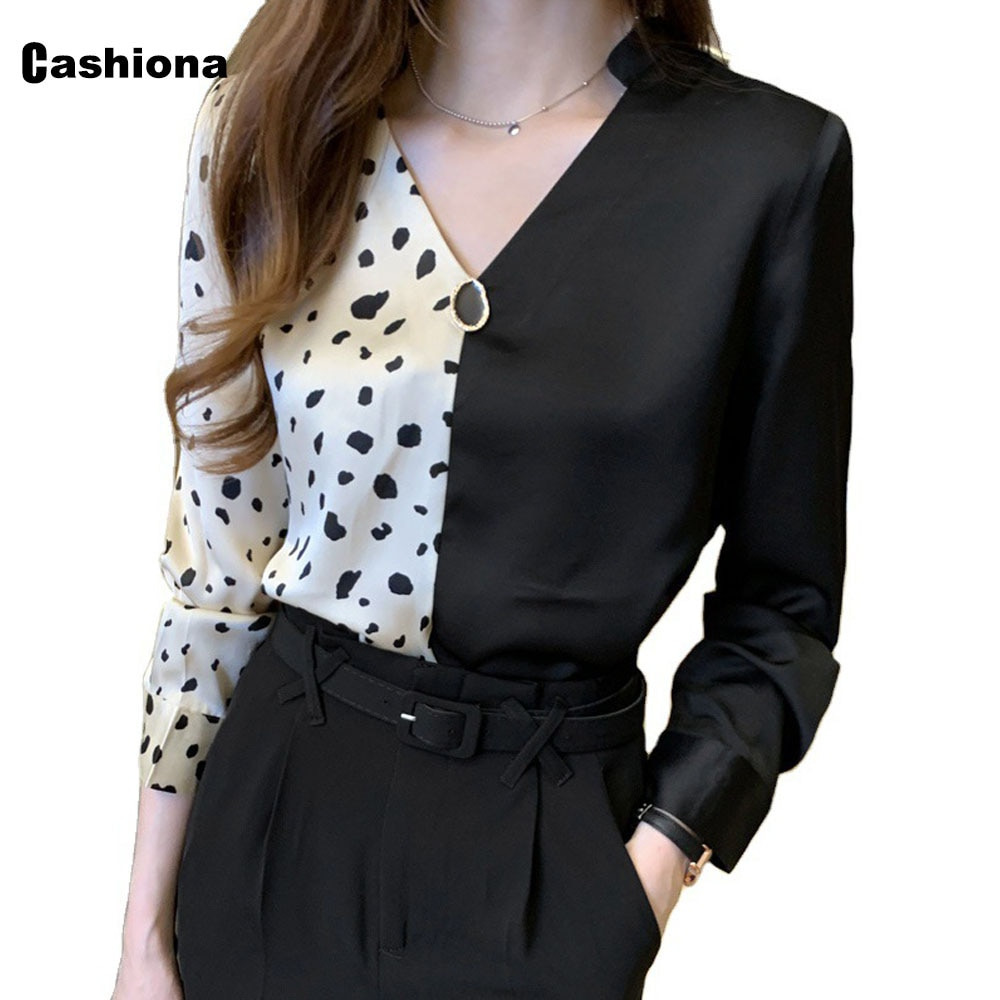 Cashiona 2021 Single-breasted Womens Top Summer Elegant Leisure Shirt Ptachwork Long Sleeve Blouse Femme blusas shirt ropa mujer