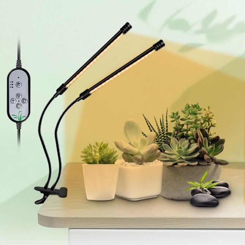 Luz LED de cultivo DC 5V USB con temporizador regulable espectro completo 3 bombillas de luz de cabeza Clip Flexible lámpara Phyto planta plántulas Fitolamp