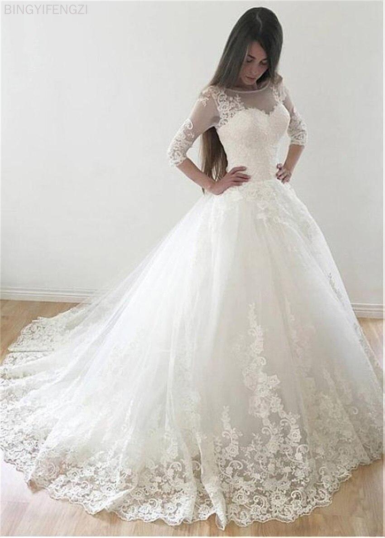 Бальное платье из тюля 2021, винтажные кружевные свадебные платья с аппликацией, двойной корсет на спине, свадебные платья с полурукавами, мол...
