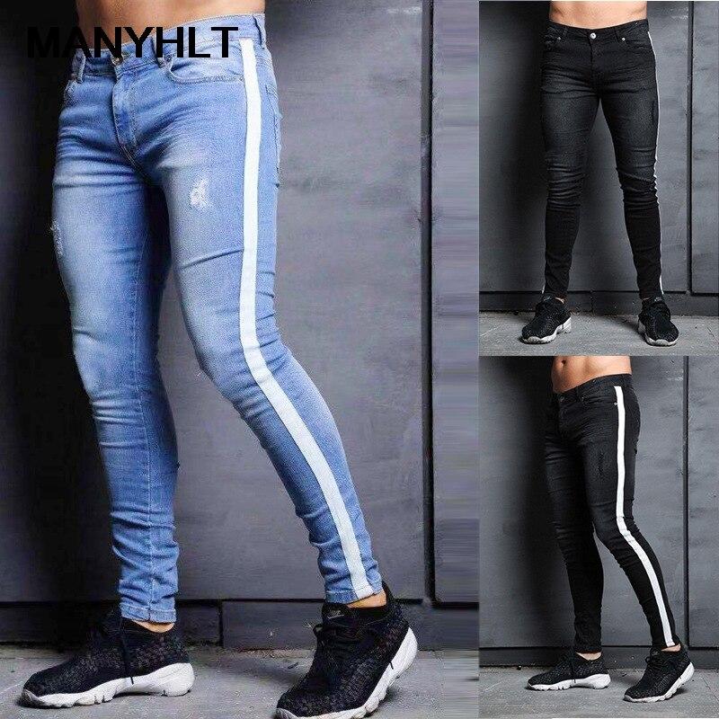 Модные мужские джинсы в европейском и американском стиле, мужские новые трендовые джинсовые штаны до колена с дырками, повседневные спорти...