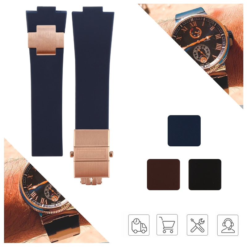 Rubber Watchband Steel Buckle Silicone Watch Band Strap for Nardin Marine Blue Black Brown 25*12mm Watch Strap Man Tools carlywet 25 12mm black brown blue waterproof silicone rubber replacement wrist watch band strap belt for ulysse nardin