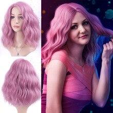 TALESHE-perruque synthétique Blonde brune 8 couleurs   Perruque courte ondulée rose pour femmes, perruques de Cosplay pour vacances pour femmes