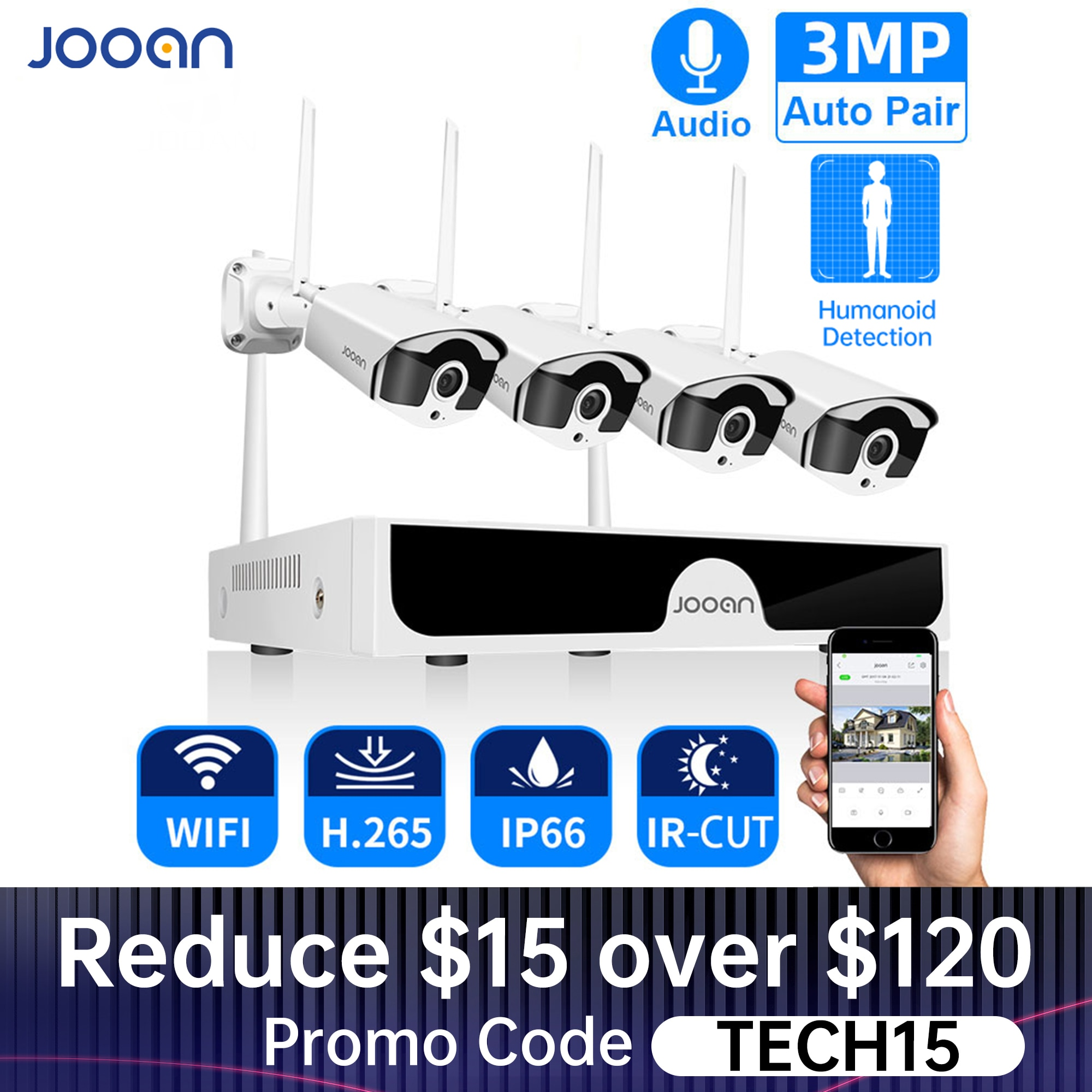 aliexpress - Jooan 8CH NVR HD 3MP CCTV Camera System Audio Record Outdoor P2P Wifi IP Security Camera Set Video Surveillance Kit