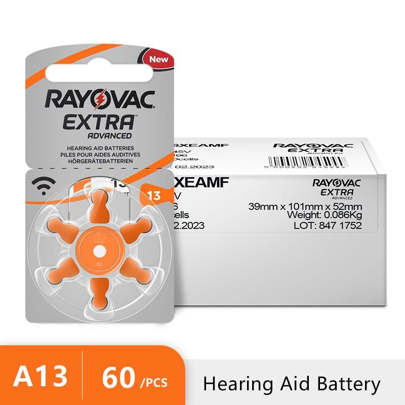 60 uds. RAYOVAC EXTRA Zinc aire audífono baterías A13 13A 13 P13 PR48 audífono batería A13 envío gratis para audífono