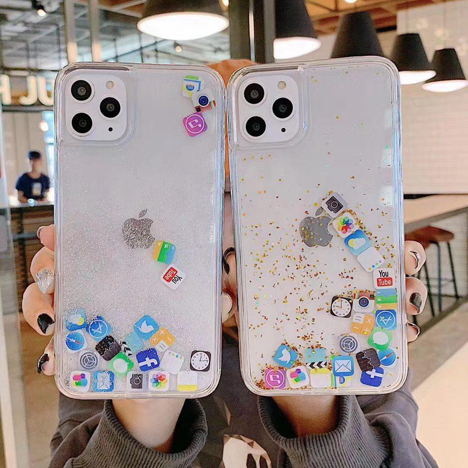Dinámica arenas movedizas caso para iPhone SE 2020 X XR XS Max 7 8 6S Plus funda de cubierta transparente para iPhone 11 Pro Max caso