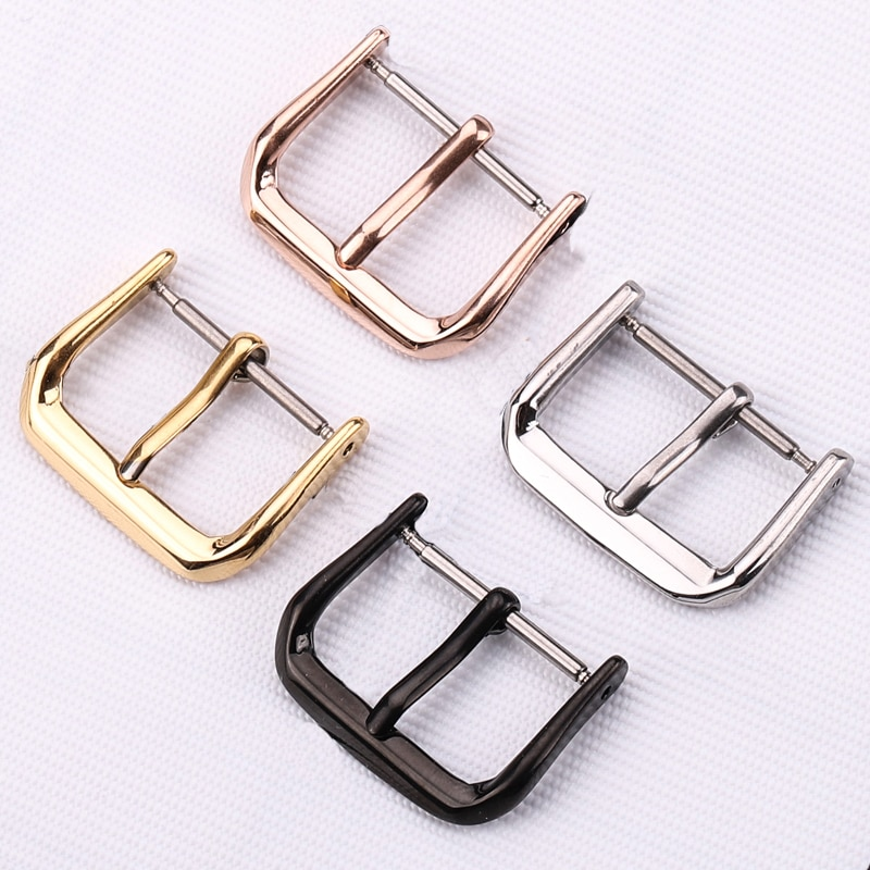 14mm 16mm 18mm 20mm 22mm 24mm black silver gold rose gold stainless steel metal strap bracelets watch band fast delivery new Stainless Steel Watch Strap Buckle Silver Gold Black Polished Metal Watchband Clasp 16mm 18mm 20mm 22mm Watch Accessories