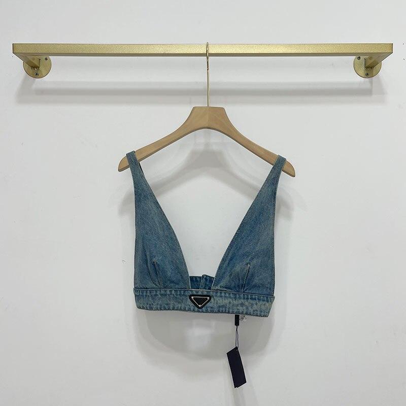 Женская Сексуальная Милая крутая верхняя одежда, джинсовый жилет, джинсовая простроченная верхняя брендовая одежда, бикини, джинсовый жиле...