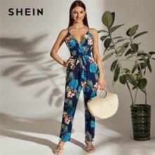 Shein multicolorido surplice pescoço auto com cinto tropical cami macacão feminino verão cintura alta sem mangas longa boho macacões