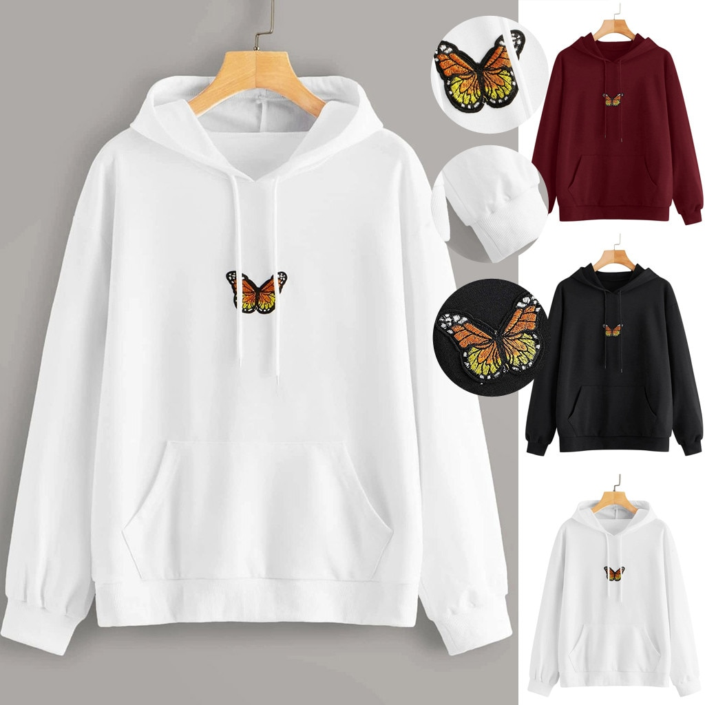 Winter Oversized Hoodies Sweatshirts Harajuku Colorful Butterfly Print Hooded Aesthetic Hoodie Sprin