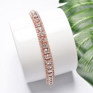 DIWENFU 18K Rose Gold Color Austrian Crystal Bracelet for Women Fine Pulseira Feminina Silver 925 Jewelry Gemstone Bracelet Girl