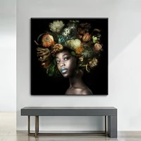 african black woman head flower canvas art and poster art picture living room bedroom home decoration picture no frame