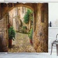 Rideau de douche de decor de paysage Ambesonne  rideau de douche impermeable de paysage dune autre porte de Village en pierre Antique salle de bain