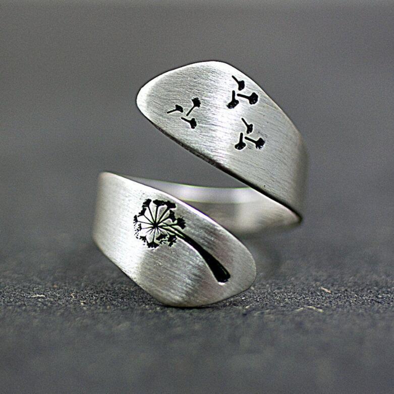 Hainon Fashion Dandelion Design Ring Plain Silver Color Party Finger Vintage Ring For Men Women Punk Wide Adjust Rings Jewelry