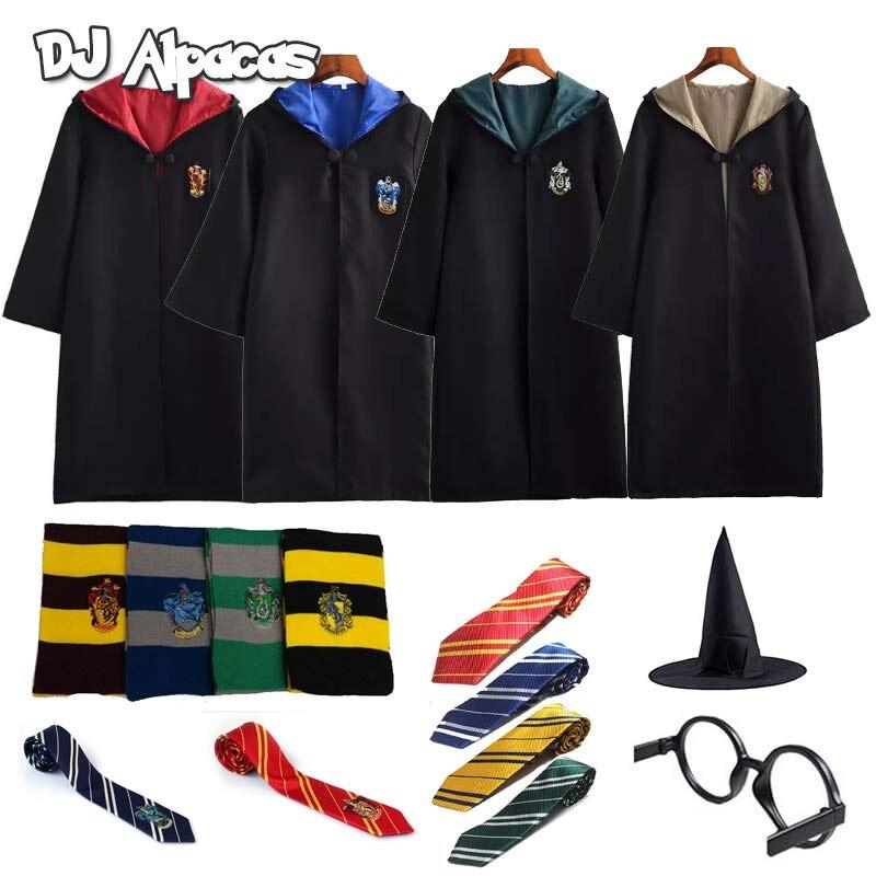 Traje Potter ropa capa con pañuelo para lazo varita gafas Godric Potter fiesta de Cosplay