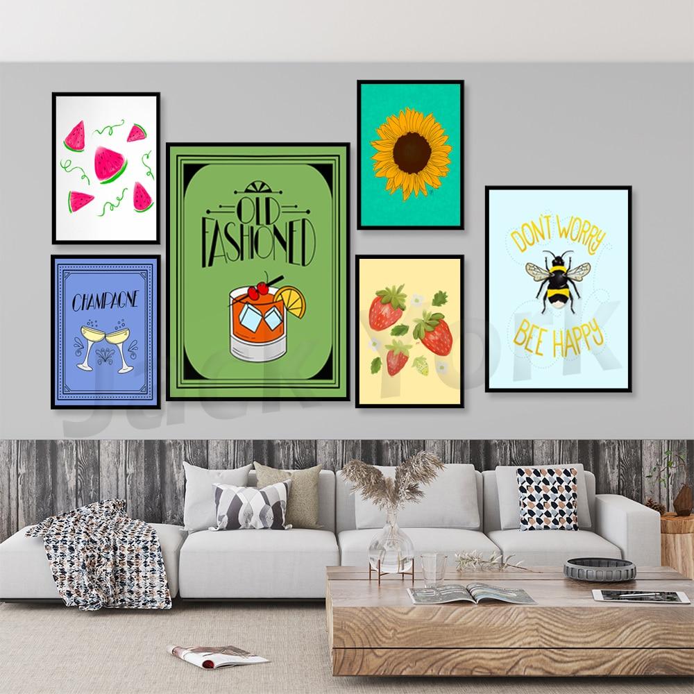 Шампанское, фрукты, постер для напитков, декоративное искусство, печать, настенное искусство, постер-