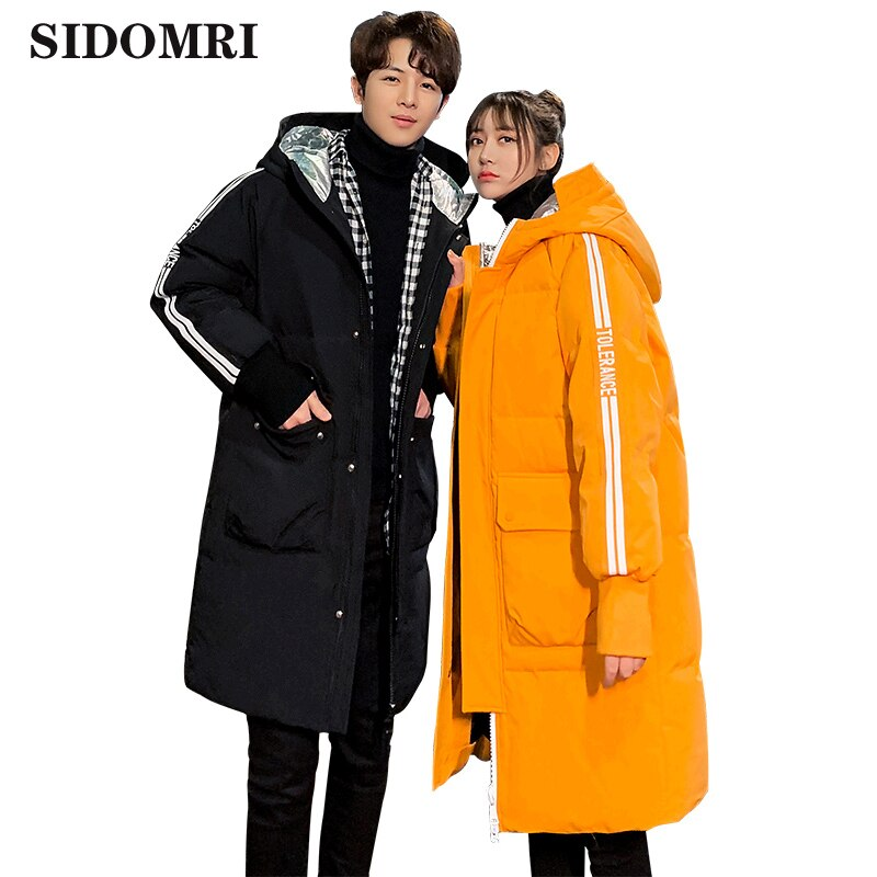 New winter down jacket men's medium and long fashion hooded coat 80% white duck down warm coat high quality