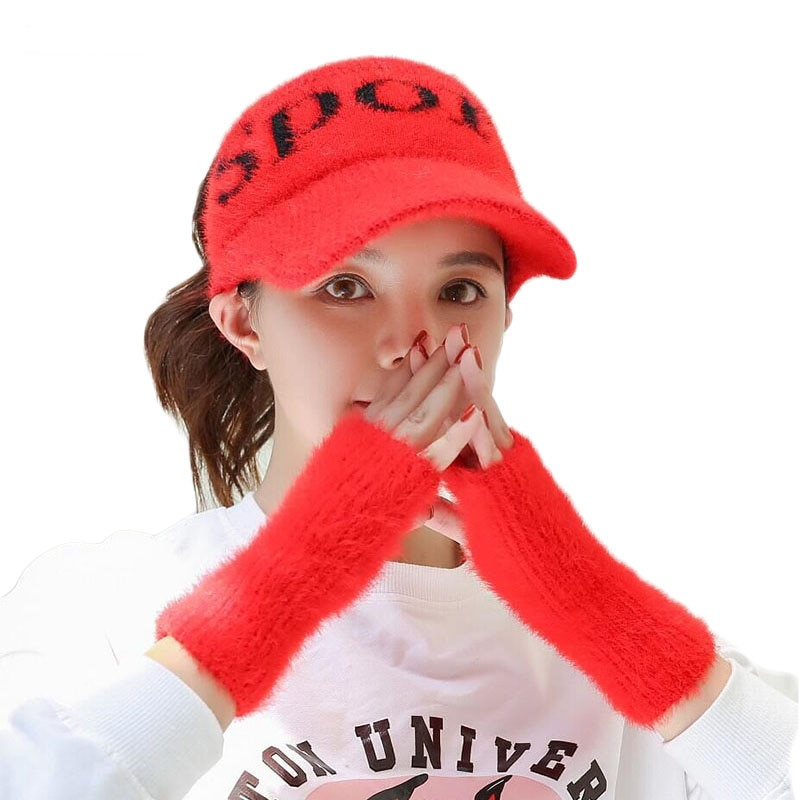 Otoño tejer sombreros de béisbol para mujeres vacío superior Visor Beanie Cap deportes sombreros calientes guantes gruesos Skullies Ski Cap