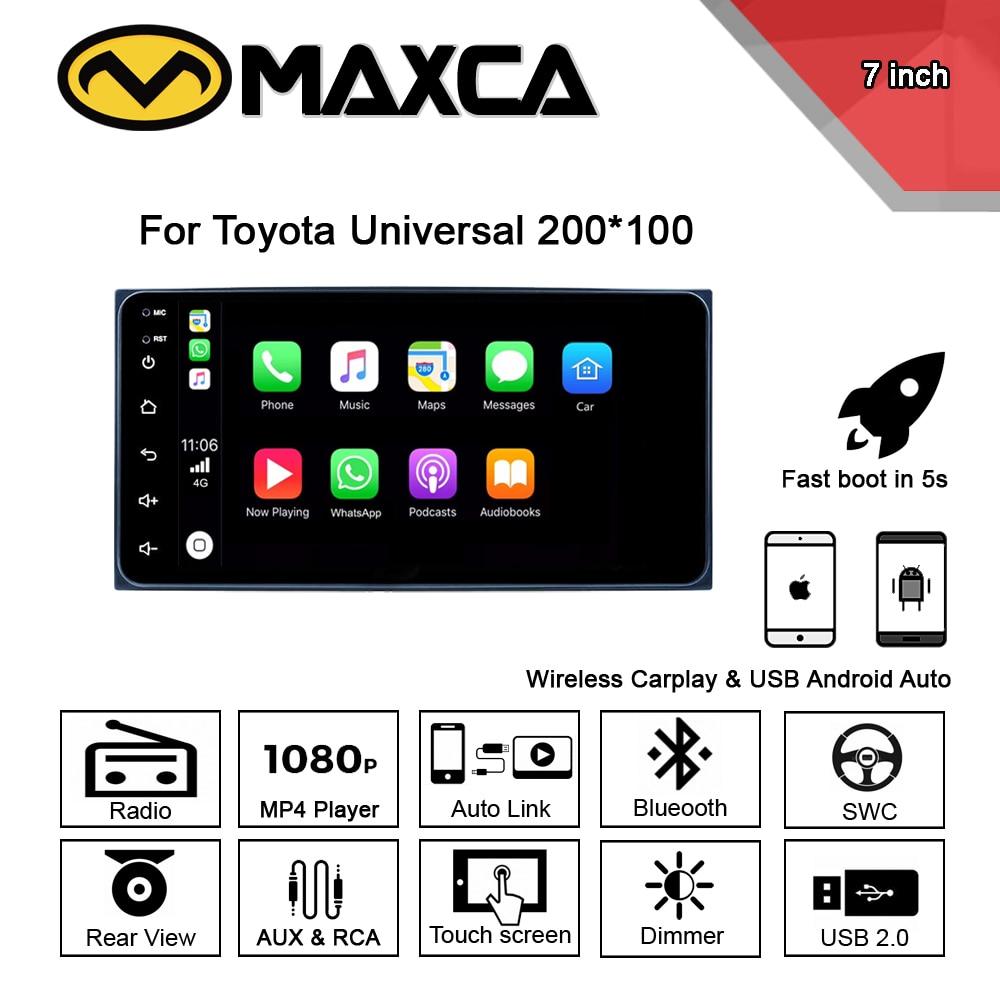 MAXCA 7 pulgadas 2 din inalámbrico Carplay Android Auto radio para Toyota Corolla Auris Hilux VIOS Camry deseo Prado reproductor Multimedia