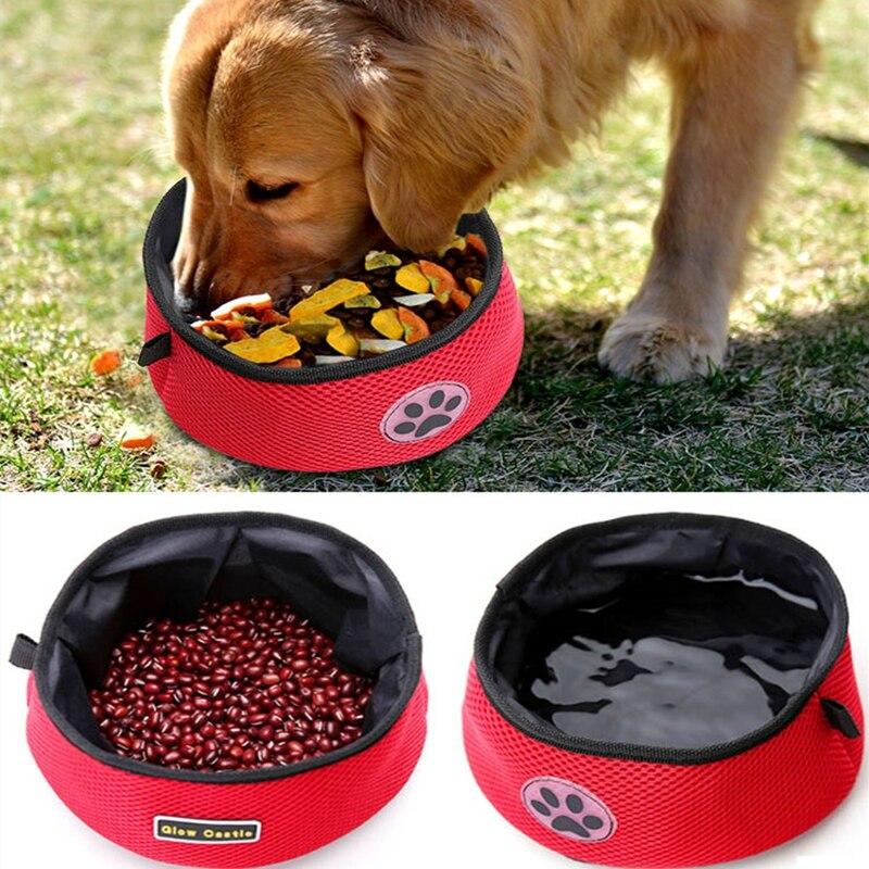 Perro Bowl para comida para gato de mascotas bolsa de comida portátil plegable de viaje impermeable perro botella de agua potable botella perro lona de la caja de almuerzo
