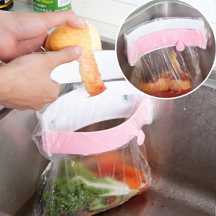 Home Kitchen Supplies Sink Trash Bag Clips-On Garbage Rack Folder Sink Garbage Bag Rack Kitchen Accessories Storage Waste Bag enlarge