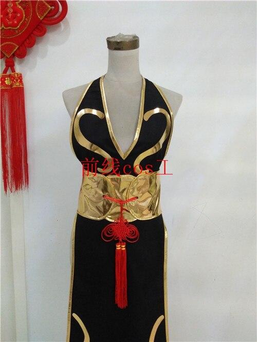 Juego Chun Li vestido negro Cosplay disfraz Halloween Disfraces para mujeres peluca vestido adulto