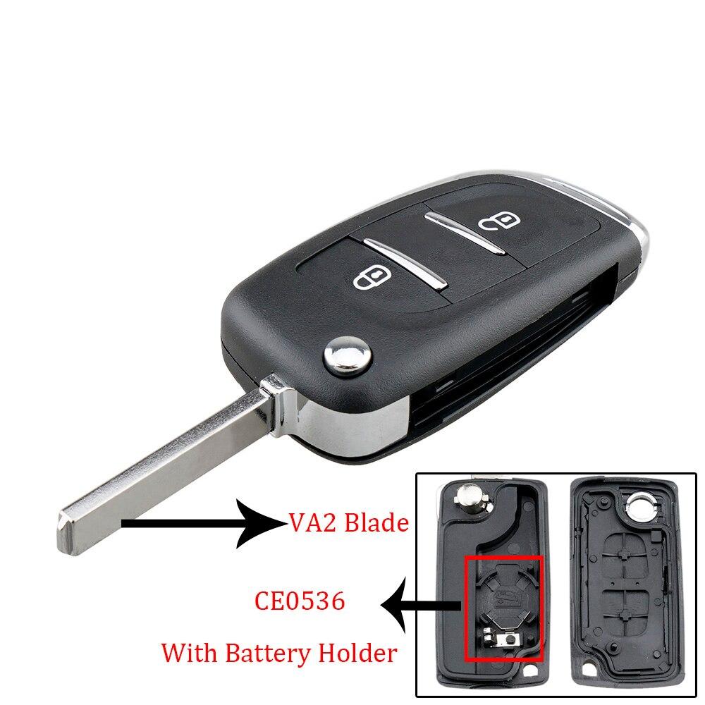 2 botões flip folding remoto carro chave fob caso escudo substituição com va2 lâmina apto para peugeot 107 207 307 307s 308 407 607