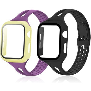 Glass+Case+Strap For Apple Watch band 40mm 44mm 38mm 42mm 44 mm Silicone Slim smartwatch bracelet iWatch serie 3 4 5 6 se band