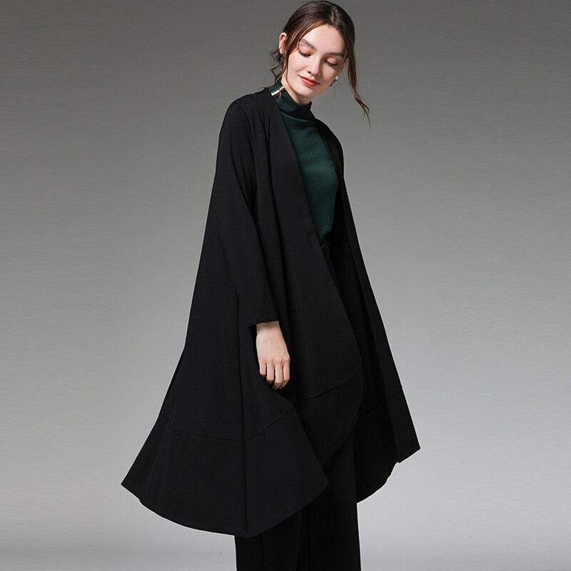 Otoño moda gabardina talla grande outwear mujer manga larga asimétrica suelta fit windbreaker trajes tops blusa delgada 4XL