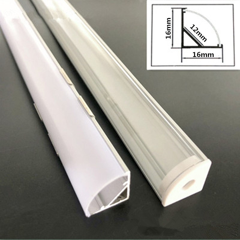2-30pcs/lot 0.5m/pcs 45 degree angle aluminum profile for 5050 3528 5630 LED strips Milky white/tran