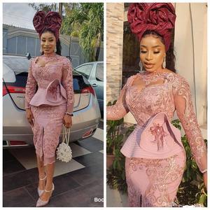 lace prom dresses 2021 muslim tulle lace appliques peplum short/mini homecoming dresses evening dress
