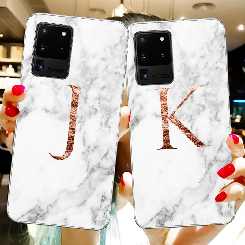 Letras monograma A B L V mármol blanco suave teléfono casos para Samsung Galaxy S20 S20 Ultra A10 A30 A50 S10 S10 PLUS funda